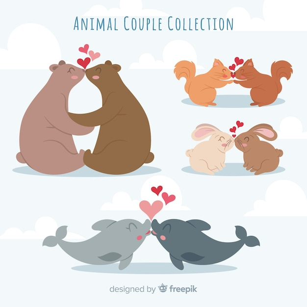 Valentine Całuje Kolekcję Zwierząt Para Darmowych Wektorów