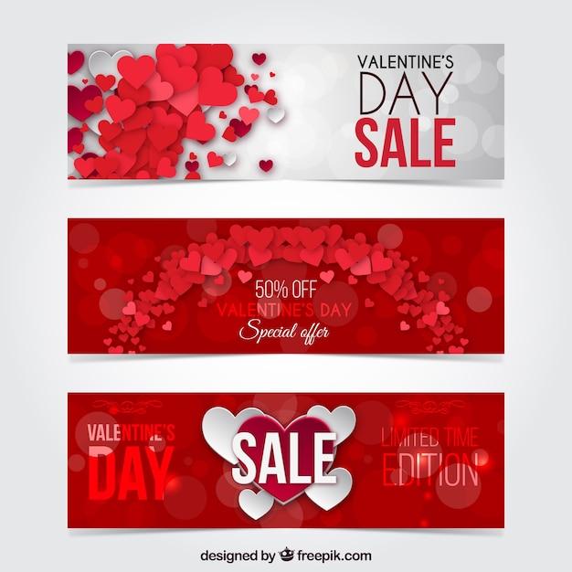 Valentine dni rabat bannery spakować Darmowych Wektorów