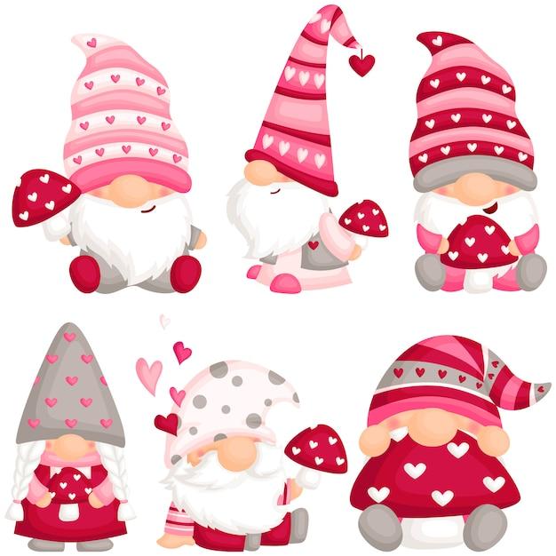Valentine Gnome With Mushroom Premium Wektorów