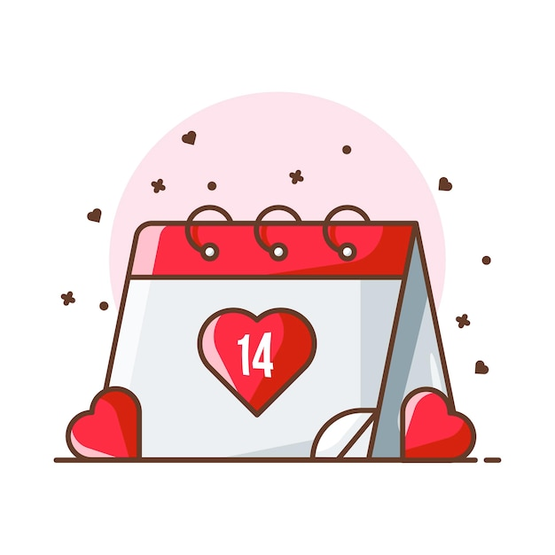 Valentine Ilustracje Ikony Kalendarza. Valentine Ikona Koncepcja Biały Na Białym Tle. Premium Wektorów