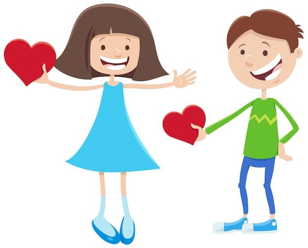 Valentine Karty Kreskówka Z Postaciami Dziewczyny I Chłopca Premium Wektorów