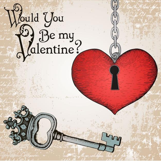 Valentine karty z serca i klucz antyczne Darmowych Wektorów