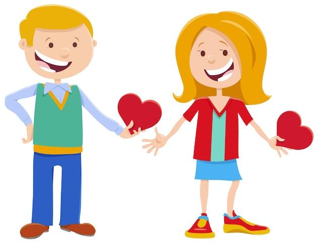 Valentine Karty Z Słodkie Postaci Dziewczyny I Chłopca Premium Wektorów