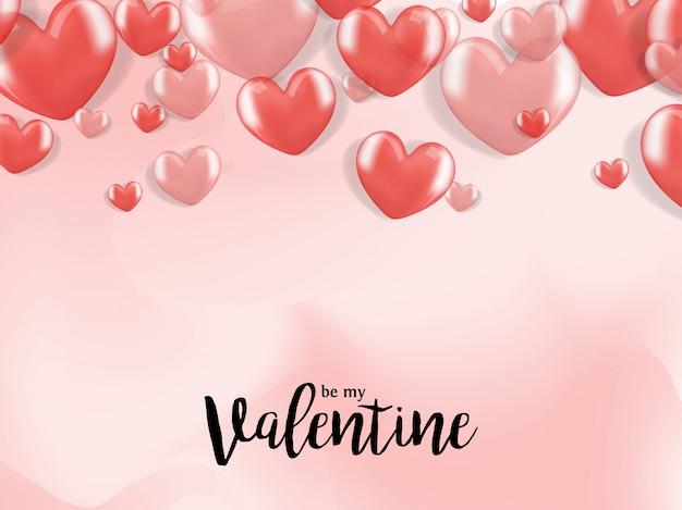 Valentine pozdrowienia z 3d realistyczny balon serca Premium Wektorów