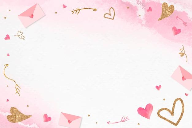 Valentine's Glittery Serce Ramki Różowe Tło Darmowych Wektorów
