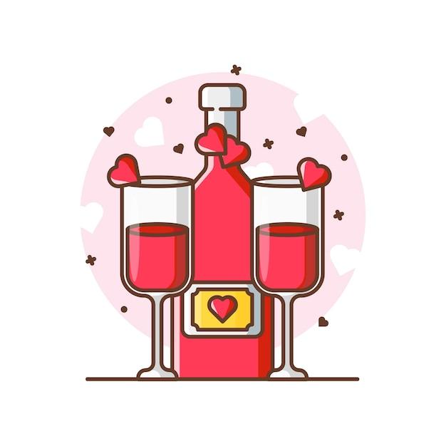 Valentine Tosty Piwa Ikona Ilustracje. Valentine Ikona Koncepcja Biały Na Białym Tle. Premium Wektorów