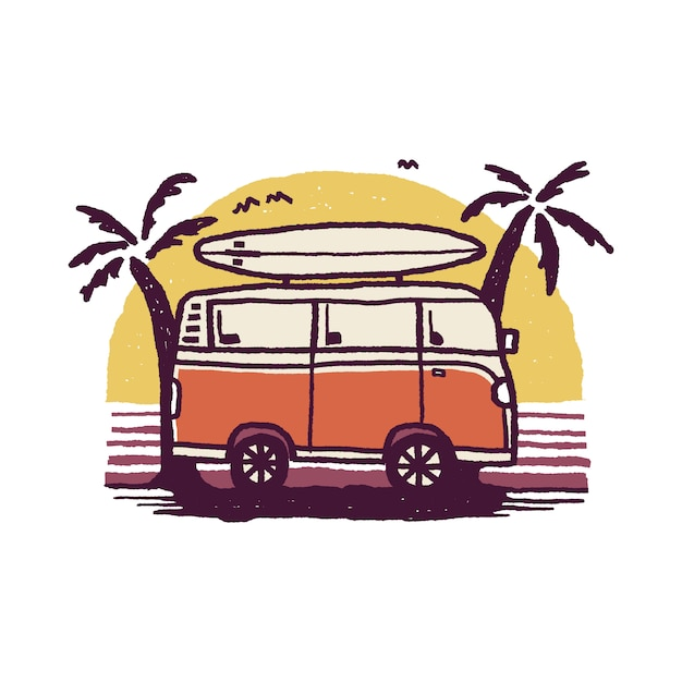 Van Nature Camping Adventure Summer Beach Graficzna Ilustracja Premium Wektorów