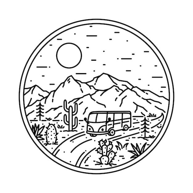 Van Nature Mountain Nature Ilustracja Premium Wektorów