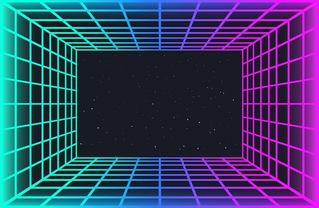 Vaporwave Retro Futurystyczne Tło. Streszczenie Tunelu Siatki Laserowej W Neonowych Kolorach Z Efektem Blasku. Nocne Niebo Z Gwiazdami. Tapeta Na Imprezę Cyberpunk, Plakat Muzyczny, Spotkanie Hackatonowe. Premium Wektorów