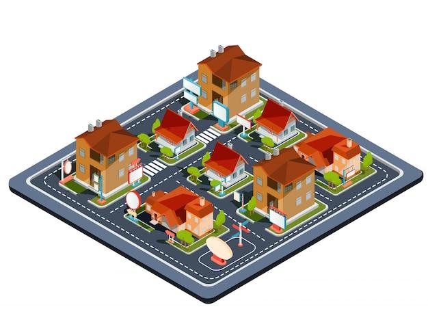 Vector izometrycznej ilustracji dzielnicy mieszkalnej Darmowych Wektorów