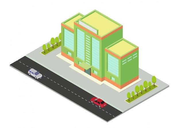 Vector Izometryczny Budynek Hotelu, Mieszkania, Szkoły Lub Wieżowca Premium Wektorów