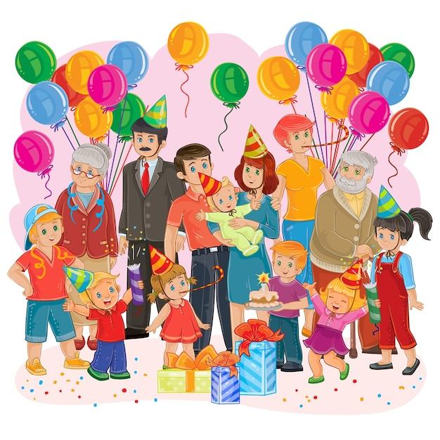 Vector wielka szczęśliwa rodzina razem świętować urodziny z prezenty, balony i ciasto Darmowych Wektorów