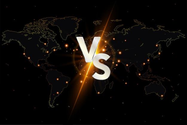 Versus vs tło na mapie świata. Premium Wektorów