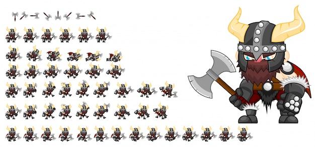 Viking game sprite Premium Wektorów