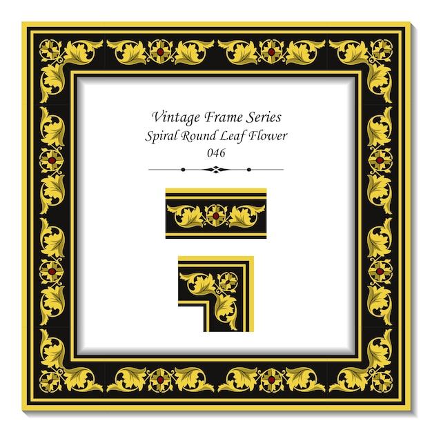 Vintage 3d Rama Złotej Spirali Okrągły Liść Kwiat Premium Wektorów