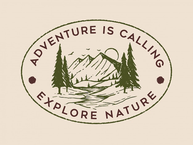 Vintage adventure logo design Premium Wektorów