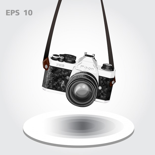 Vintage aparat lub retro wektor kamery Premium Wektorów