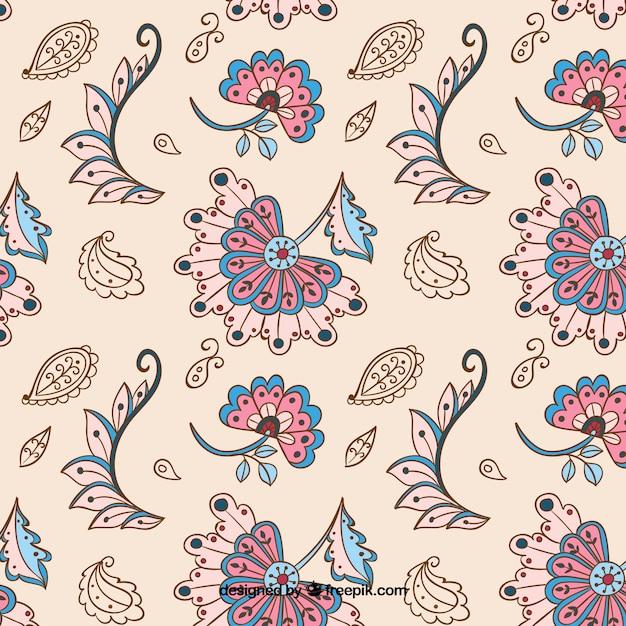 Vintage batik wzór w kolorze beżowym Darmowych Wektorów