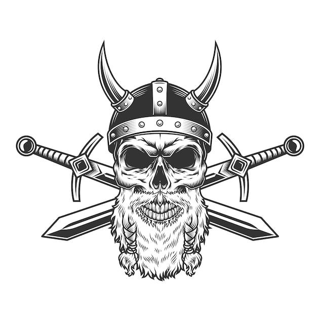 Vintage Brodaty Viking Czaszki Darmowych Wektorów