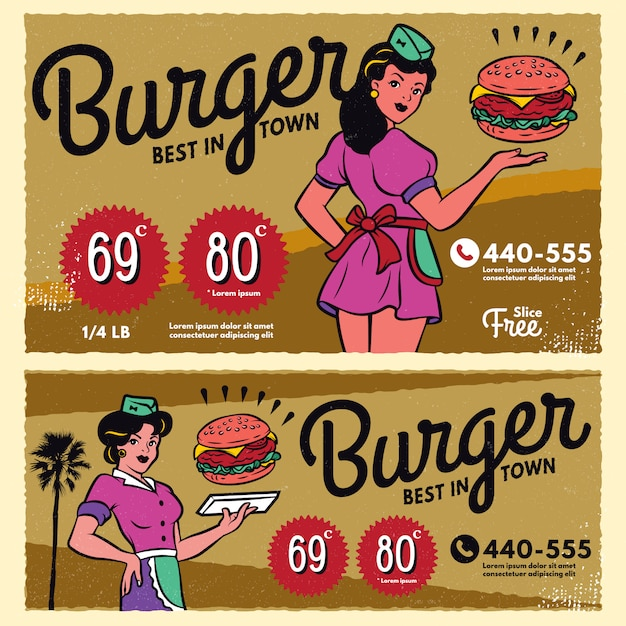 Vintage burger plakat menu znak transparent Premium Wektorów