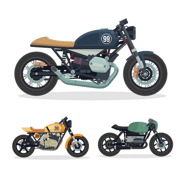 Vintage Cafe Racer Zestaw Ilustracji Motocykla Darmowych Wektorów