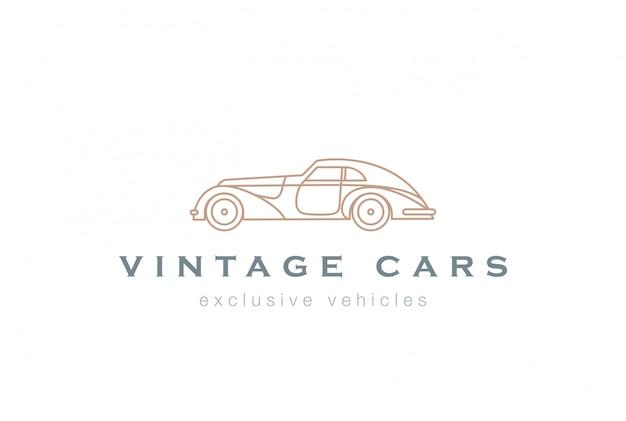 Vintage Car Streszczenie Logo Liniowy Wektor Ikona Darmowych Wektorów