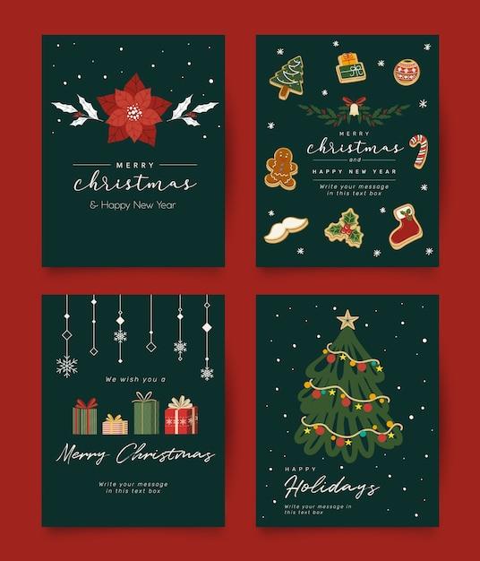 Vintage Christmas życzeniami Kolekcja Premium Wektorów