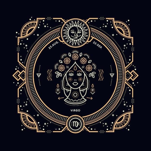 Vintage Cienka Linia Znak Zodiaku Panna. Retro Symbol Astrologiczny, Mistyczny, Element świętej Geometrii, Godło, Logo. Ilustracja Kontur Obrysu. Premium Wektorów