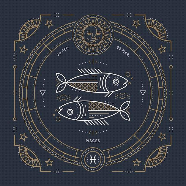 Vintage Cienka Linia Znak Zodiaku Ryby. Retro Symbol Astrologiczny, Mistyczny, Element świętej Geometrii, Godło, Logo. Ilustracja Kontur Obrysu. Premium Wektorów