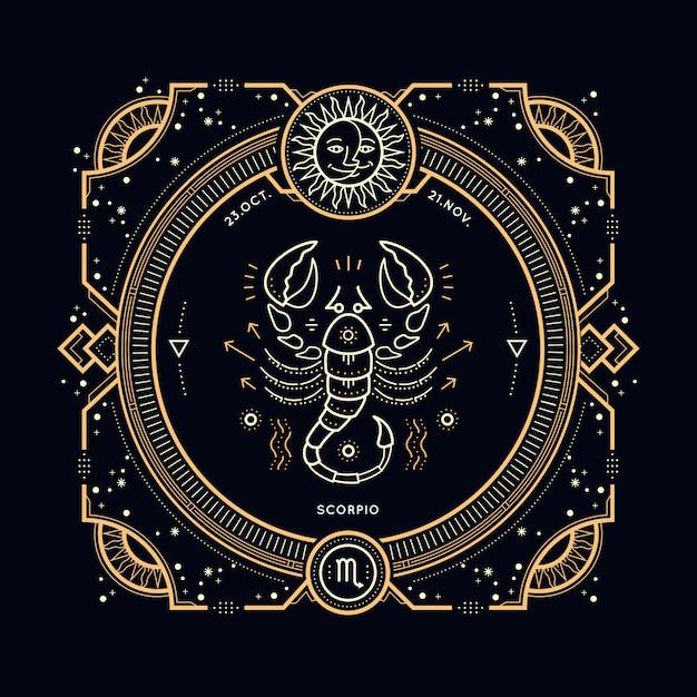 Vintage Cienka Linia Znak Zodiaku Skorpion. Retro Symbol Astrologiczny, Mistyczny, Element świętej Geometrii, Godło, Logo. Ilustracja Kontur Obrysu. Premium Wektorów
