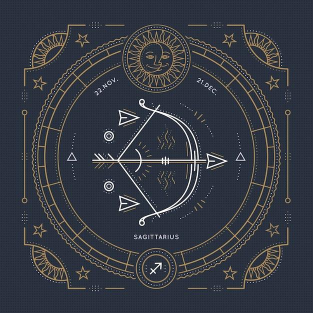 Vintage Cienka Linia Znak Zodiaku Strzelec. Retro Symbol Astrologiczny, Mistyczny, Element świętej Geometrii, Godło, Logo. Ilustracja Kontur Obrysu. Premium Wektorów