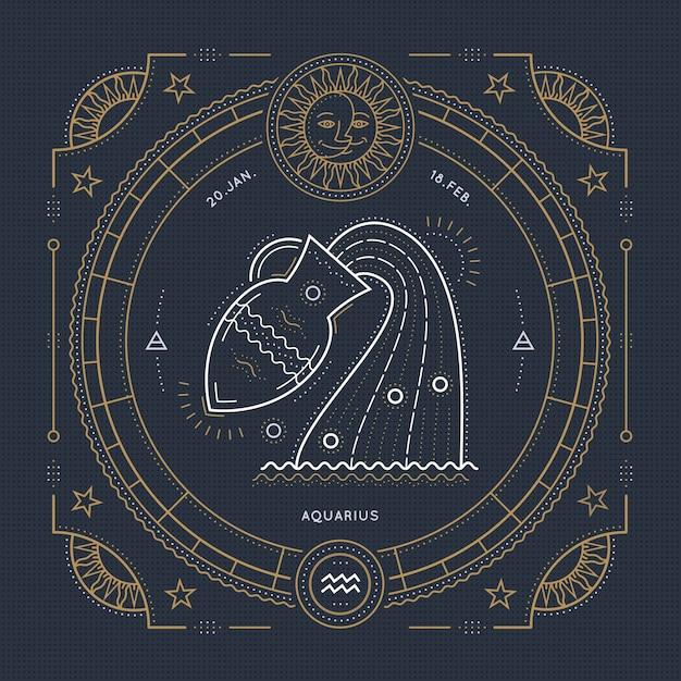 Vintage Cienka Linia Znak Zodiaku Wodnik. Retro Symbol Astrologiczny, Mistyczny, Element świętej Geometrii, Godło, Logo. Ilustracja Kontur Obrysu. Premium Wektorów