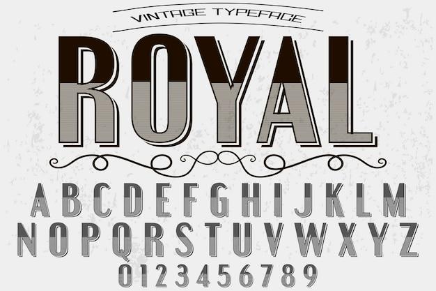 Vintage czcionka ręcznie królewska Premium Wektorów