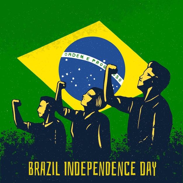 Vintage Dzień Niepodległości Koncepcji Brazylii Premium Wektorów
