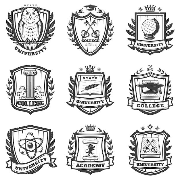 Vintage Edukacyjny Herb Zestaw Darmowych Wektorów
