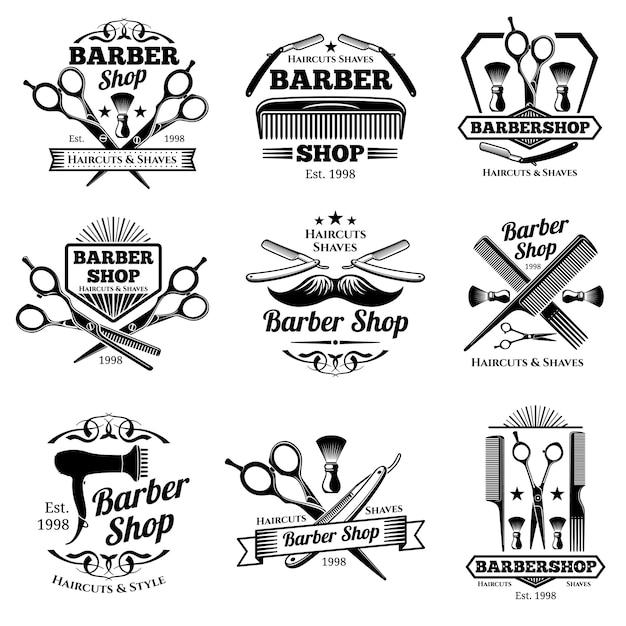Vintage Emblematy I Etykiety Wektor Fryzjera. Odznaki Fryzjerskie I Logo Premium Wektorów