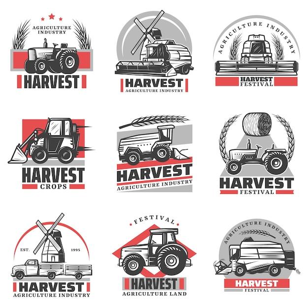Vintage Emblematy Zbioru Z Napisami Ciągniki Kombajn ładowarka Ciężarówka Siano Beli Pszenicy Uszy Wiatrak Na Białym Tle Darmowych Wektorów