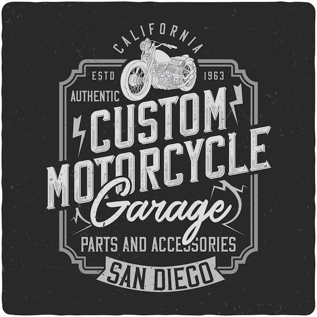 Vintage Etykieta Motocykl Cstom Premium Wektorów