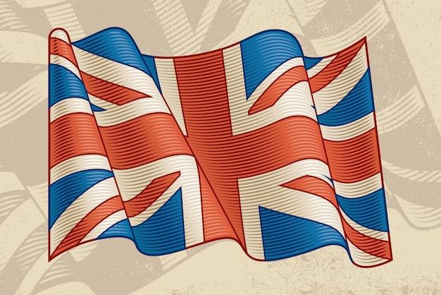 Vintage flagi brytyjskiej Premium Wektorów