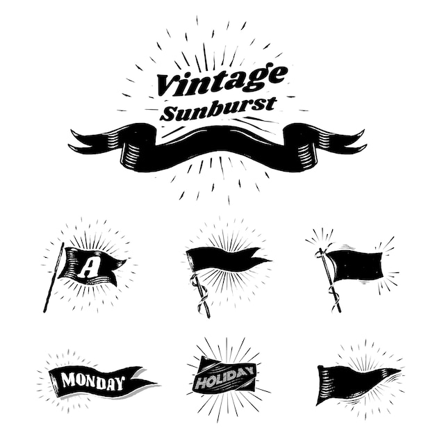 Vintage Flagi Sunburst Darmowych Wektorów
