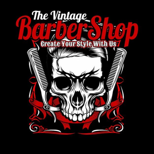 Vintage fryzjer, czaszka i grzebień. Premium Wektorów
