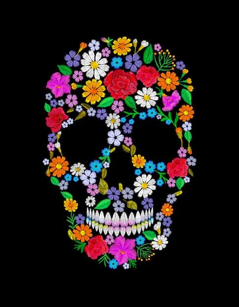 Vintage Haftowana Kwiatowa Czaszka. Moda Martertos Dead Day Premium Wektorów
