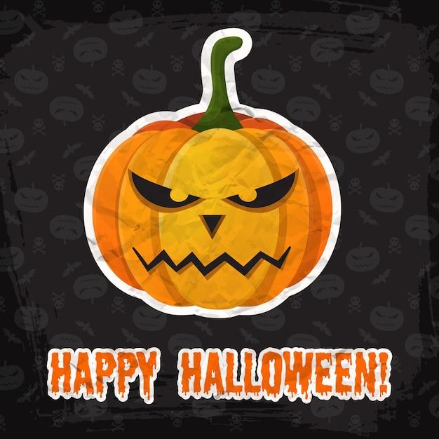 Vintage Happy Halloween Szablon Z Napisem I Naklejką Z Papierowej Dyni Darmowych Wektorów