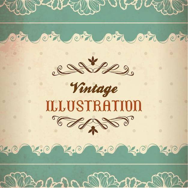 vintage ilustracji z koronki kwiaty i typografii wektor premium