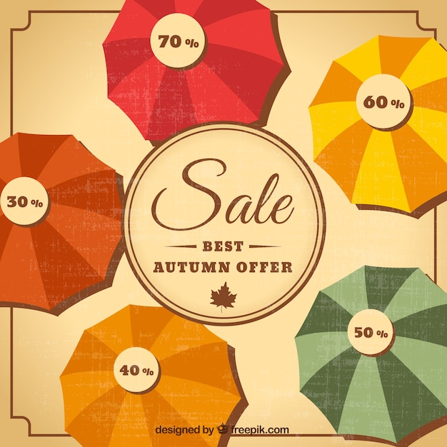 Vintage Jesienią Sprzedaż Z Parasolką Darmowych Wektorów