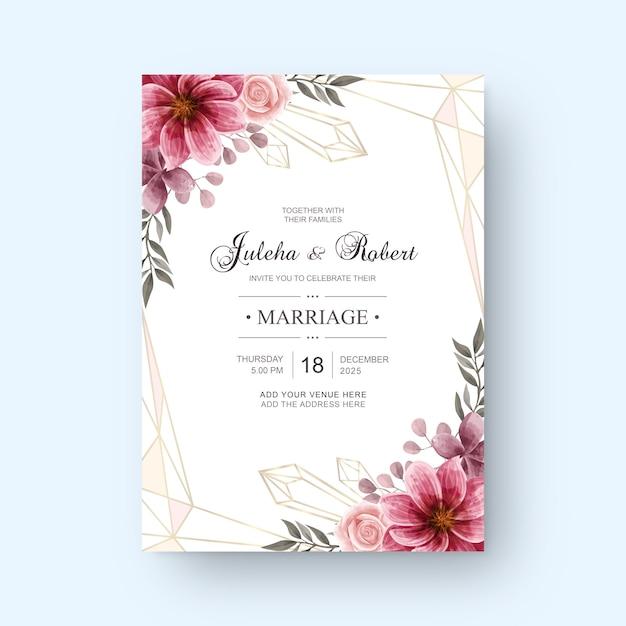 Vintage Karta Zaproszenie Na ślub Z Dekoracją Kwiatów Akwarela Premium Wektorów