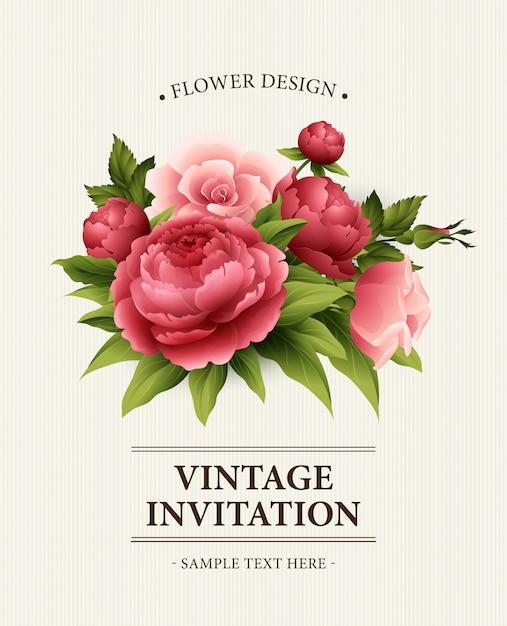 Vintage Kartkę Z życzeniami Z Kwitnących Piwonii I Kwiatów Róży. Premium Wektorów