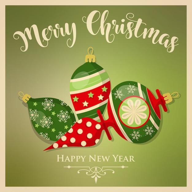 Vintage kartki świąteczne z bombkami i wiadomości. kartkę z życzeniami nowego roku. wydrukować. wektor Premium Wektorów