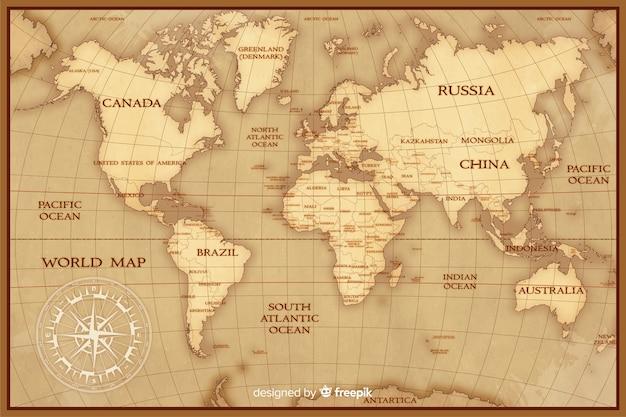 Vintage Kartografii Mapę świata Koncepcji Darmowych Wektorów