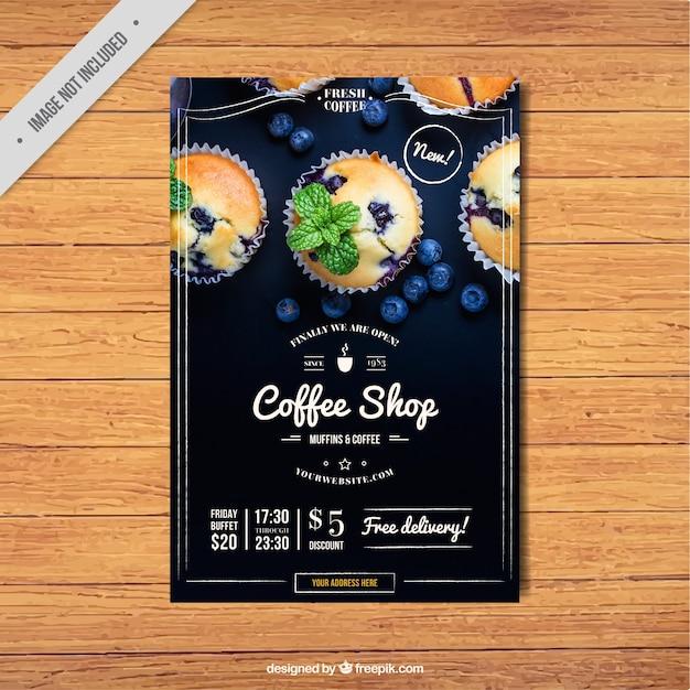 Vintage kawiarnia broszura Darmowych Wektorów